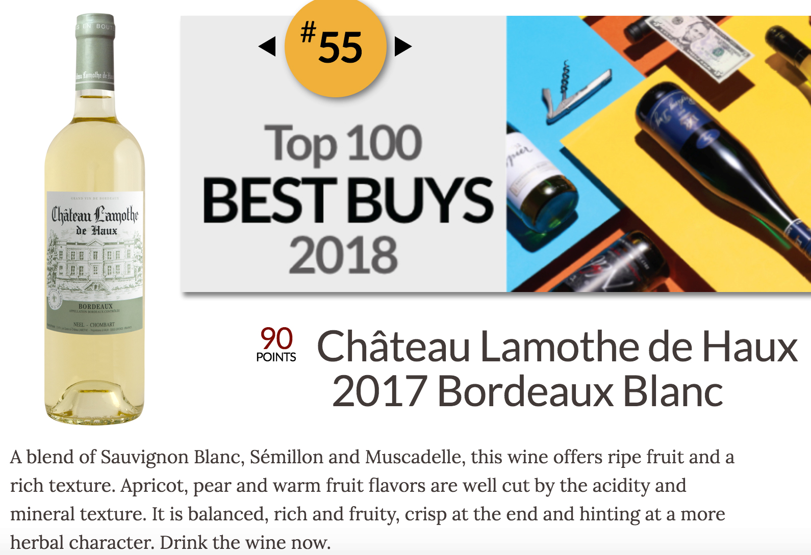 BEST BUY WINE ENTHUSIAST 90 PTS LAMOTHE BLANC